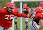 Georgia offensive lineman Isaiah Wilson (79) during the Bulldogs' session on the Woodruff Practice Fields on Aug. 28. (Photo by Steven Colquitt)