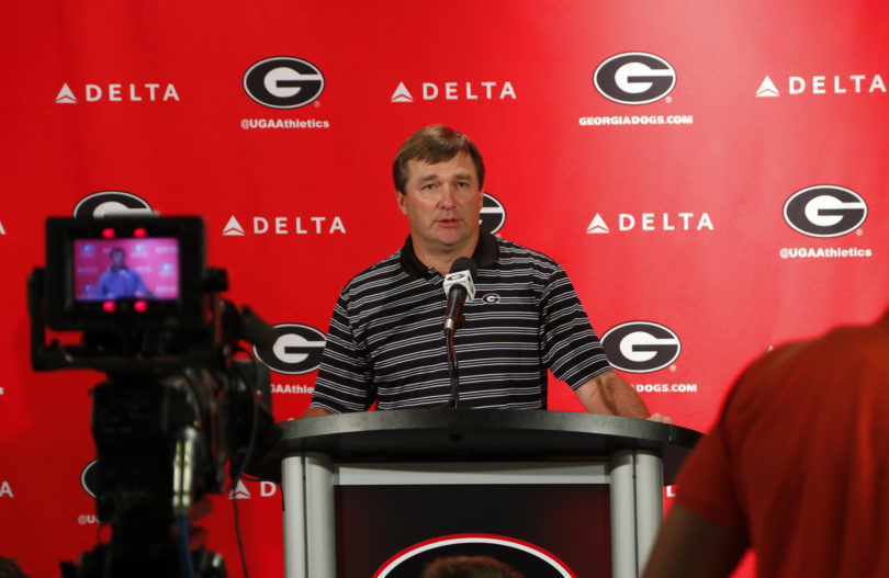 Georgia's head coach Kirby Smart during a press conference at Butts-Mehre Heritage Hall in Athens, Ga., on Monday, Aug. 28, 2017. (Photo by Steffenie Burns)