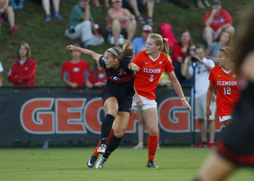 Georgia forward Kelsey Killean (22) during the Bulldogs' game against Clemson at Turner Soccer Complex in Athens, Ga., on Sunday, Sept. 3, 2017. (Photo by Steffenie Burns)