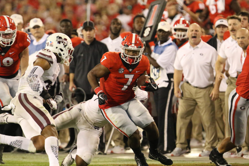 Georgia running back D'Andre Swift (7) during the Bulldogs' game against Mississippi State at Sanford Stadium in Athens, Ga., on Saturday, Sept. 23, 2017. (Photo by Andy Harrison)