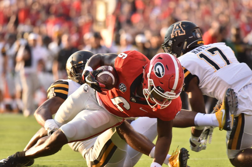 Georgia receiver Javon Wims (6) during the Bulldogs' game against Appalachian State at Sanford Stadium in Athens, Ga., on Saturday, Sept. 2, 2017. (Photo by Perry McIntyre Jr.)