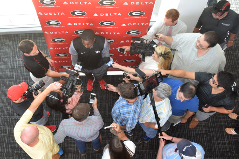 Georgia tailback Sony Michel talks to the media at Butts-Mehre Heritage Hall on Monday. (Steven Colquitt)