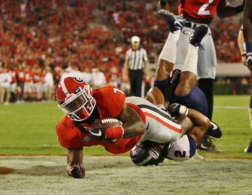 Georgia running back D'Andre Swift (7) during the Bulldogs' game against Samford at Sanford Stadium in Athens, Ga., on Saturday, Sept. 16, 2017. (Photo by Rob Saye)