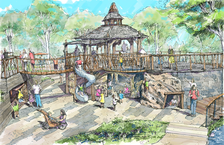 An architect's rendering of the new Alice H. Richards Children's Garden.