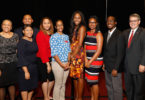 Pictured from left are keynote speaker Dawn Bennett-Alexander, students Morgan Easley, Christian Laurent, Brittany Williams, Valerie Marcano, Nettie Brown, Kelsey Reddick, Ayodele Daré and UGA President Jere W. Morehead.