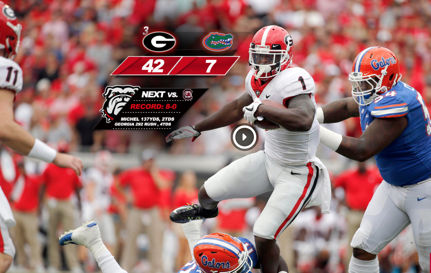 Georgia Rushes Out To 42 7 Victory Over Florida Uga Today