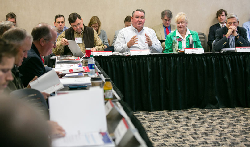 Members of the Georgia General Assembly discuss issues regarding Georgia's dams during the last Environmental Policy Academy meeting in December 2016.