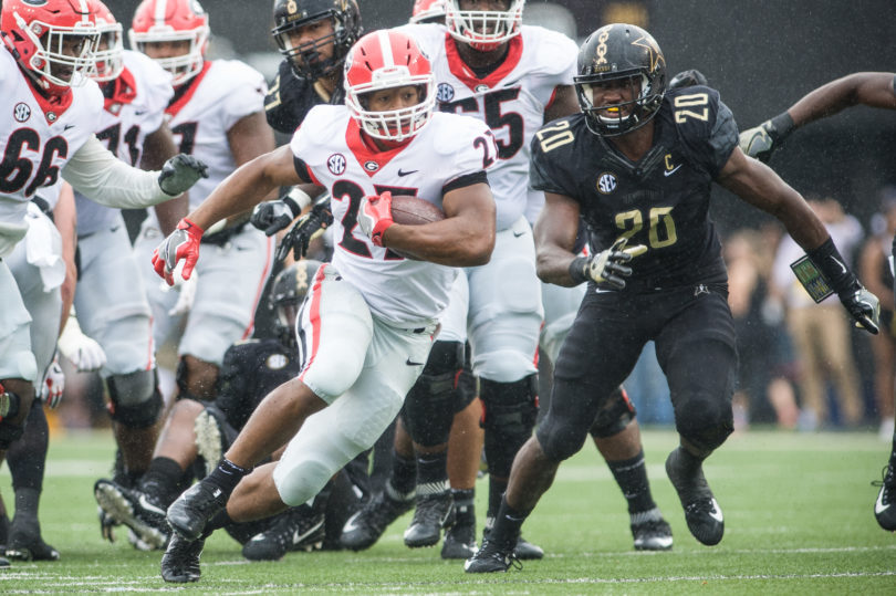 Nick Chubb ran for 138 yards and two touchdowns against Vanderbilt.
