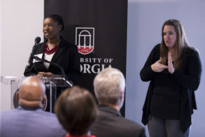 Undergraduate management major Layette Leflore, left, speaks during the dedication ceremony and open house for the renovation of Clark Howell Hall. on Monday. (Andrew Davis Tucker/UGA)