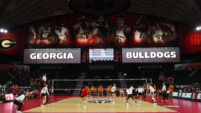 The UGA volleyball team was the first to use the newly renovated Stegeman Coliseum.