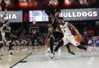 Georgia guard Juwan Parker drives during the Bulldogs' game against USC Upstate at Stegeman Coliseum on Tuesday. (Steffenie Burns)