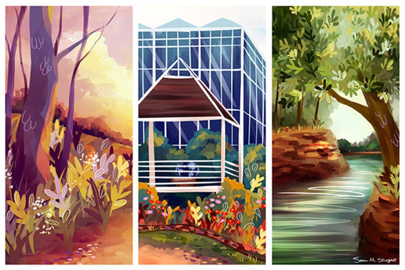 Bot Garden art contest tri panel-h