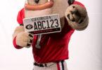UGA License Plate-hairyDog.holding-V