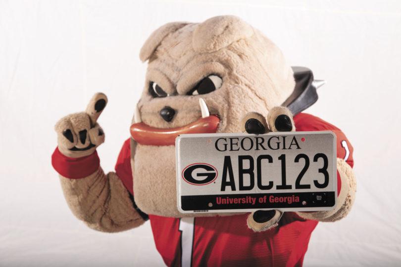 UGA License Plate-hairyDog.holding-H