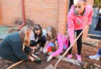 Students plant a garden