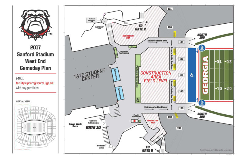 2017 Sanford Stadium west end zone construction gameday plan