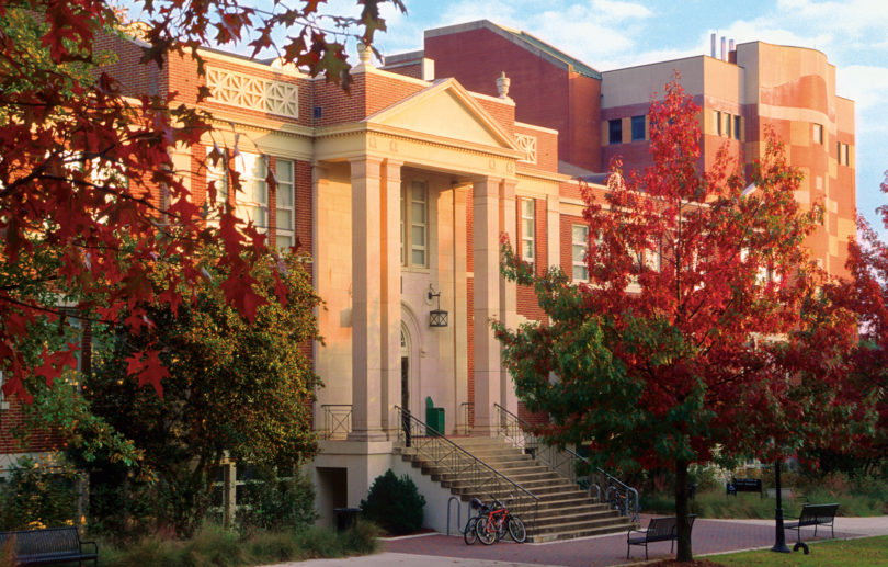 Warnell School front in fall-h.photo