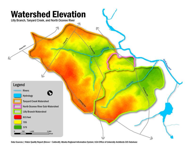 Watershed UGA watershed elevation map-h.illustration