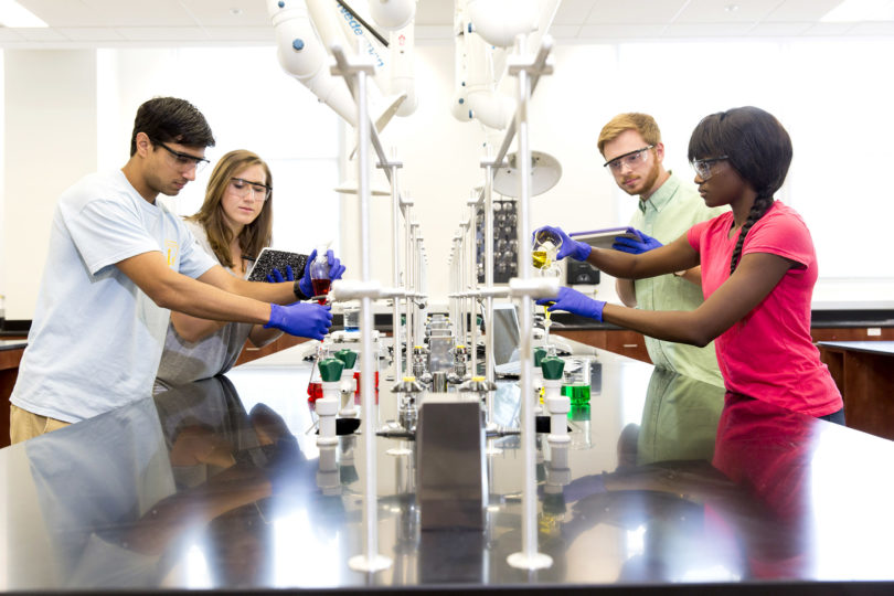 Incoming class 2017 4 students in a lab-h
