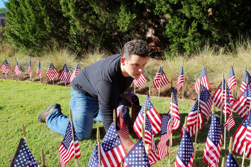 Kyle McReynolds flags veterans day display-h