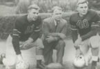Leading the 1943 Bulldog team to the Rose Bowl were captain Frank Sinkwich, coach Wally Butts and alternate captain Walter Ruark. (Courtesy of Hargrett Rare Book and Manuscript Library/University of Georgia Libraries)