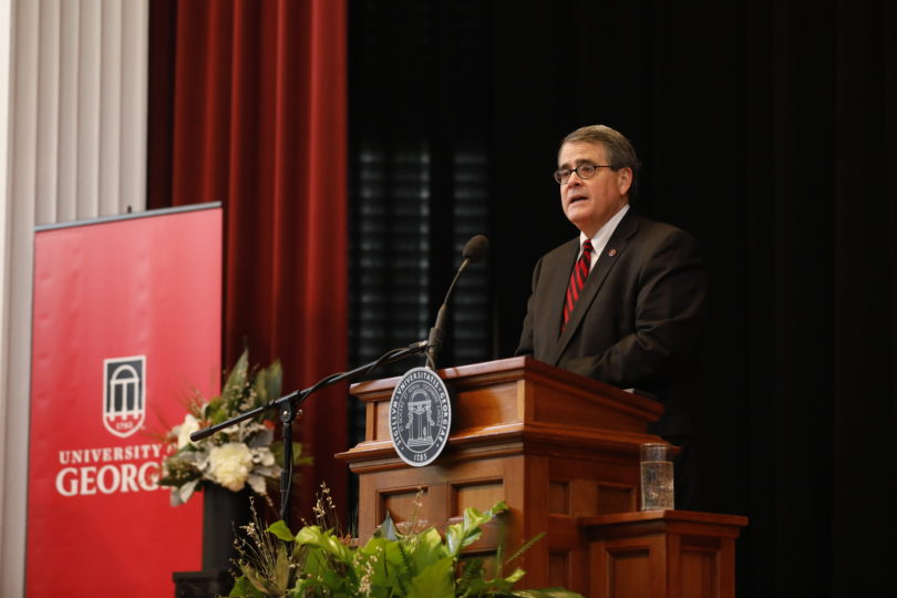 UGA President Jere W. Morehead delivered the 2018 State of the University address Wednesday in the Chapel. (Photo by Peter Frey/UGA)