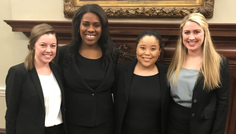 Students on the moot court competition team are Maggie Sparks, Elizabeth Tarver, Taryn Winston and Lauren Lutton.