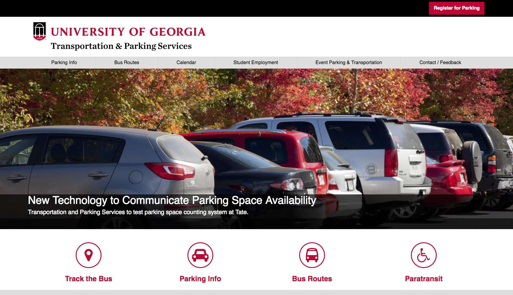 Parking and transit info on new website - UGA Today