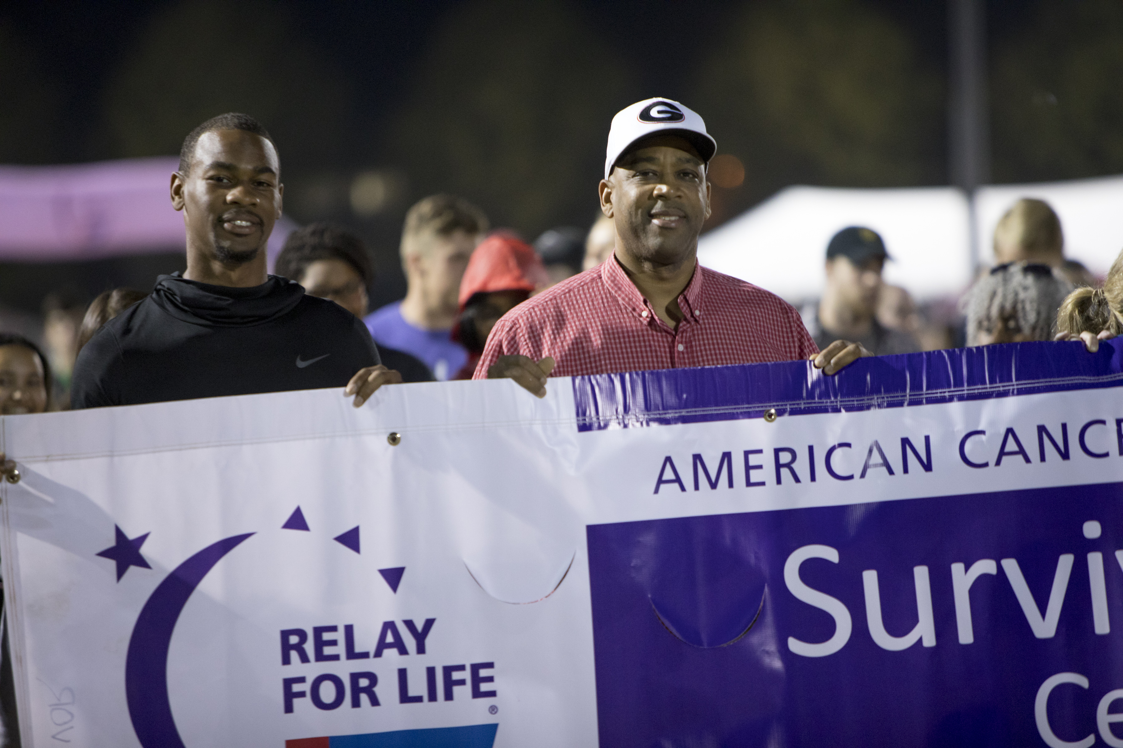 Terry Godwin Jr. and Terry Godwin Sr. during the 2018 Relay for Life at the  UGA intramural fields. (Chad Osburn/UGA)