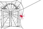 Drawing of the Arch on a spider web with red spider