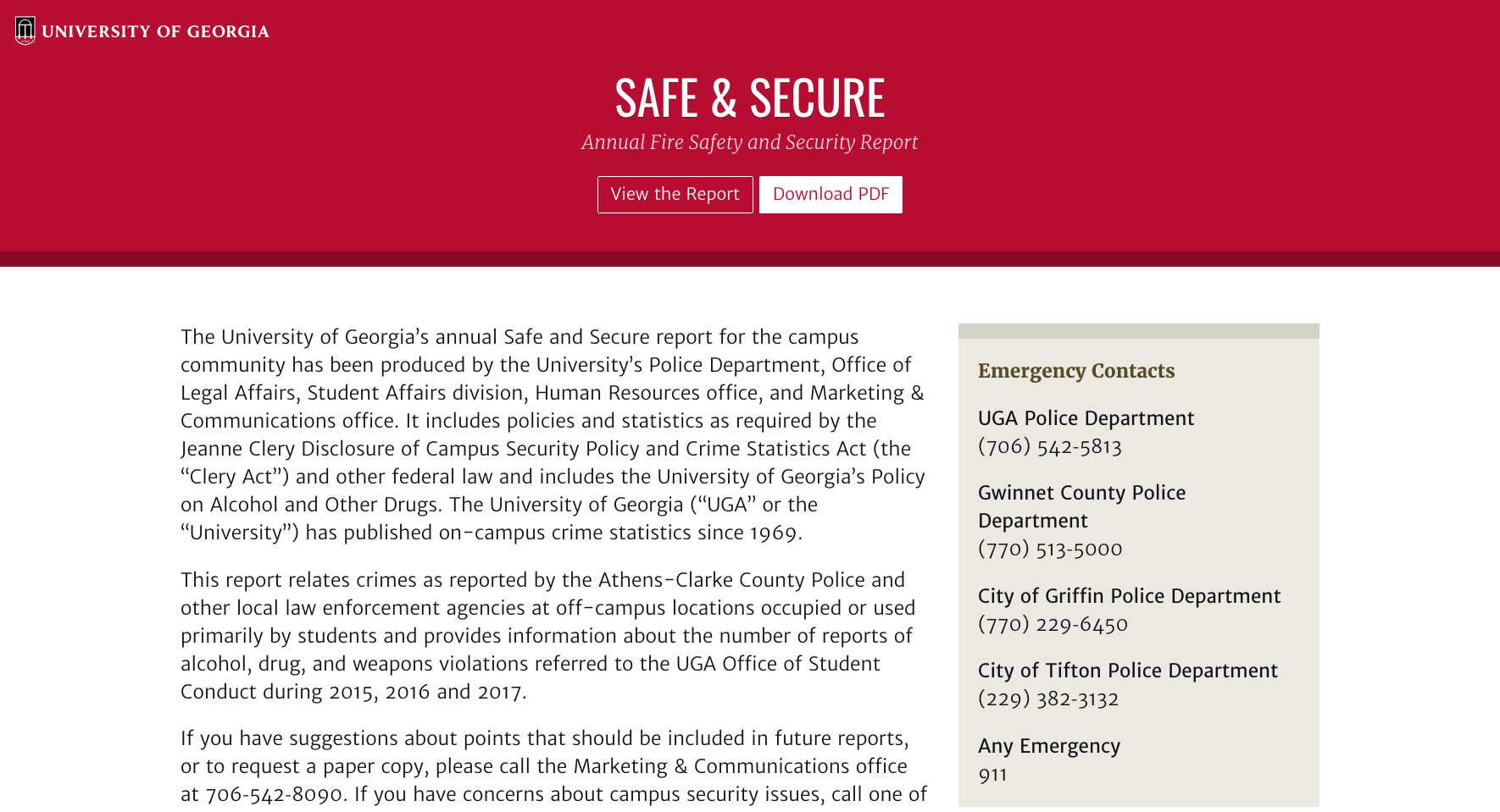 Updated annual security report now online - UGA Today