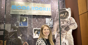 """Moon Rocks!"" an exhibition at the Richard B. Russell Building Special Collections Library, celebrates the 50th anniversary of the moon landing. Graduate student Sarah Anderson, who is interning at the libraries, curated the exhibition. (Photo by Peter Frey/UGA)."