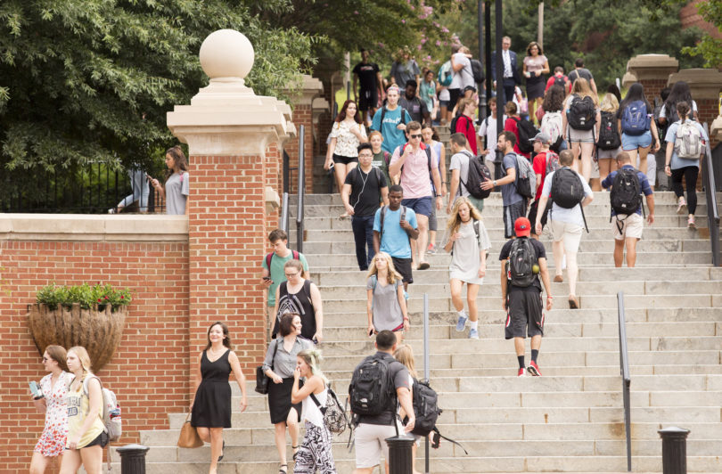Photo of students going to class