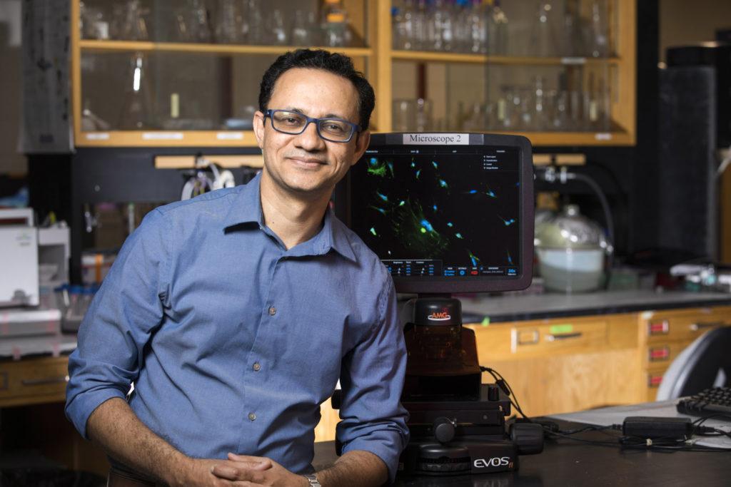 Photo of Hitesh Handa in his lab.