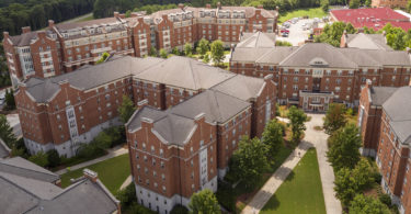 Aerial photos of brick buildings on the university campus