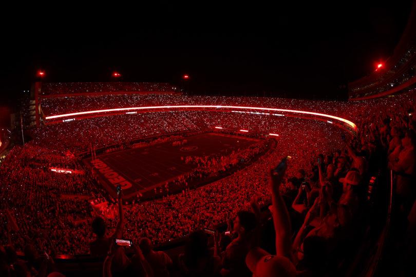 Image result for uga red lights stadium