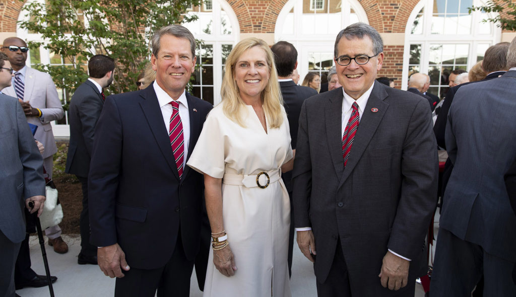 Georgia Gov. Brian Kemp, his wife, Marty, and UGA President Jere W. Morehead.