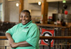 Sandra Patterson in dining hall