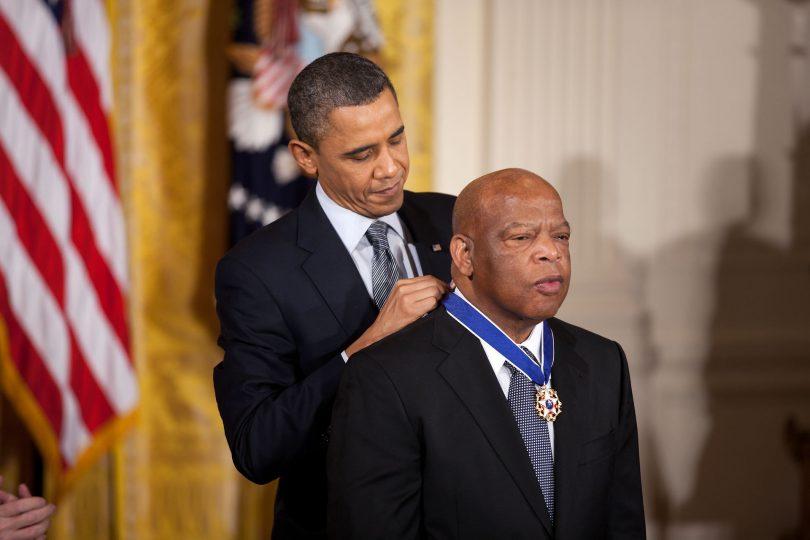 President Barack Obama awards the 2010 Presidential Medal of Freedom to Congressman John Lewis