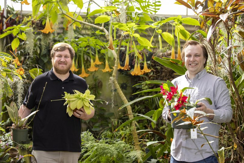 Graduate students Mason McNair and Mark Zenoble in the plant biology greenhouse.