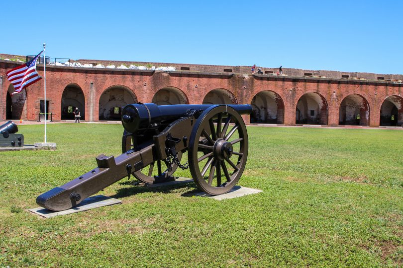 A cannon in front of Fort Pulaski.