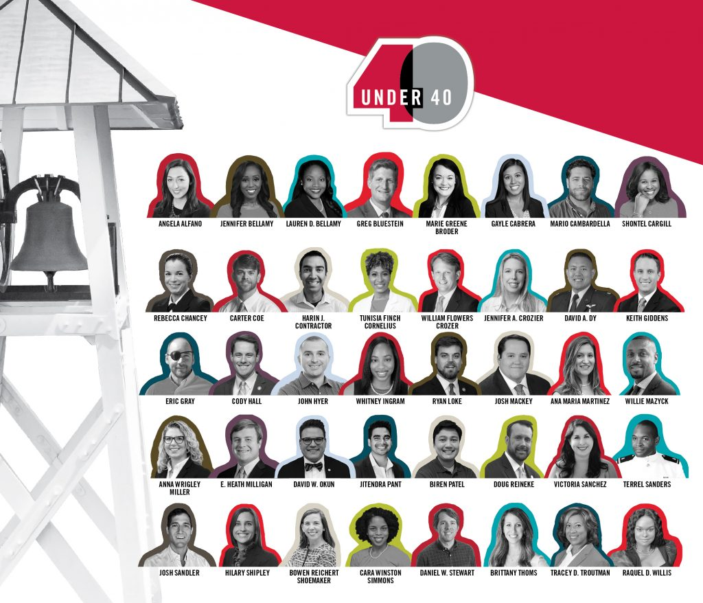 Collage of portraits of 40 under 40 awardees.