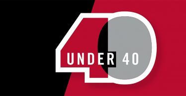 Red and black 40 under 40 logo