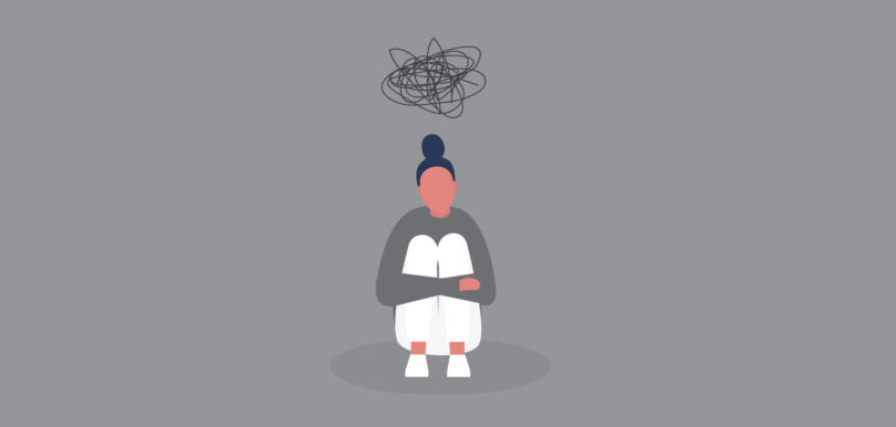 An illustration of a young African American with a cloud over her head.