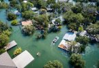Aerial view of flooded homes