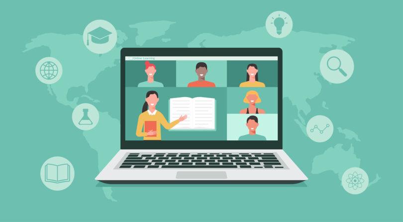 Illustration of a teacher conducting an online class.