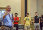 Dean of Students Bill McDonald speaks with students
