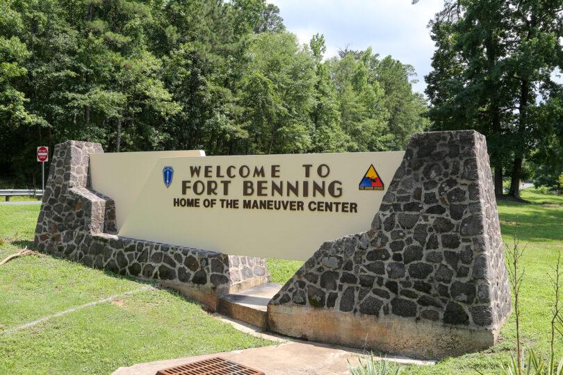 A Fort Benning entrance sign.