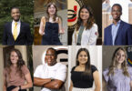 A compilation of eight student portraits.