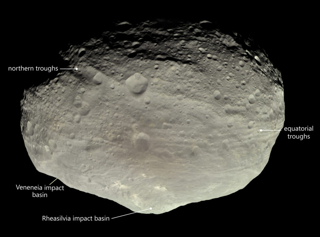 An image of the vesta asteroid showing troughs.